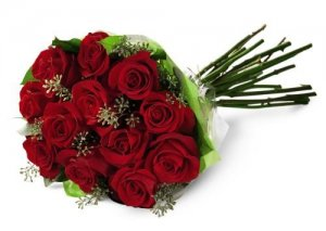 12 Red Roses Handtied with accents