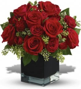 0 12 Red Roses cube flower arrangement with accents