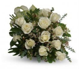 00 12 white roses handtied with fresh flower accents