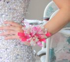 1 corsage wrist orchids bling fusia