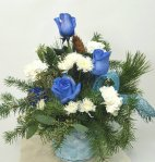 1 a Blue Christmas flower arrangement