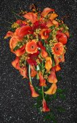 A Mango Callas, Orange Gerberas Brides Bouquet