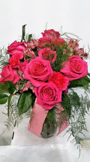1 1 a big pink roses bouquet - Click Image to Close