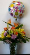 balloon bouquet colourful flower arrangement