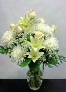 0 a heavenly vase lilies mums roses white flowers