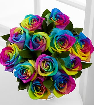 12 Rainbow Roses, handtied - Click Image to Close