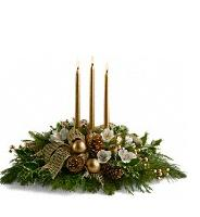 Royal Christmas Centerpiece-3-candles-white/gold