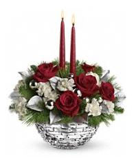 2 Candles Christmas Centerpiece roses