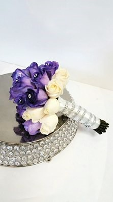 1 bridal bouquet luscious purple roses hand tied