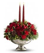 2 Candle Red Centrepiece In A Mercury Bowl