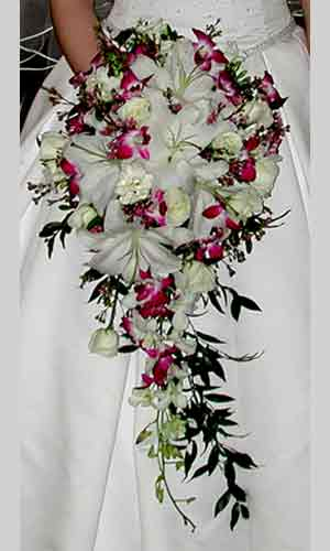 Cascading White Lily Rose Bridal Bouquet White Lilies Roses