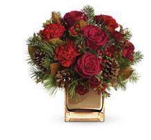 01 Warm Tidings bouquet with roses-carnations red-cube
