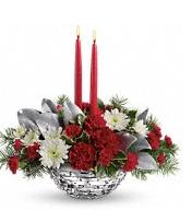 2 candle Centerpiece Christmas Winter Magic